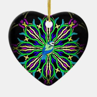 Bluebird en una colección ceñida caleidoscopio adorno navideño de cerámica en forma de corazón
