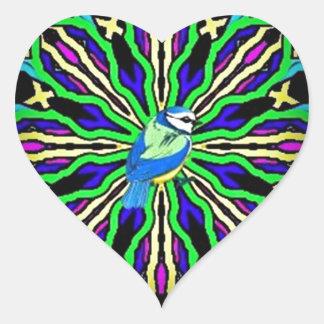 Bluebird en una colección ceñida caleidoscopio esp pegatina corazón personalizadas