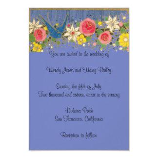 Bluebird & Flowers Vintage Wedding Invitation