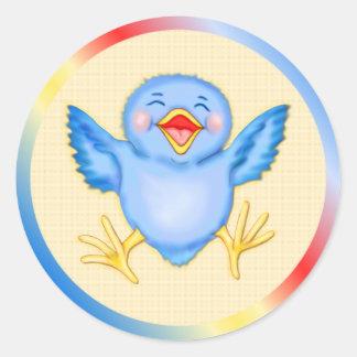 Bluebird Happiness Classic Round Sticker