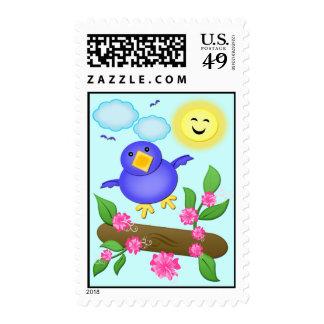 Bluebird Happiness Spring Postage Stamp