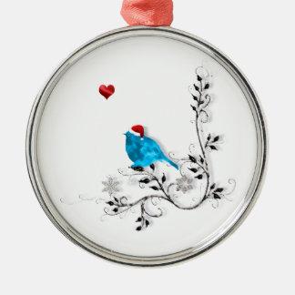 Bluebird, Heart Metal Ornament