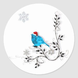 Bluebird in a Santa Hat! Classic Round Sticker