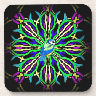 Bluebird in a spiral kaleidoscope girt collection beverage coasters