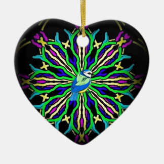 Bluebird in a spiral kaleidoscope girt collection Double-Sided heart ceramic christmas ornament