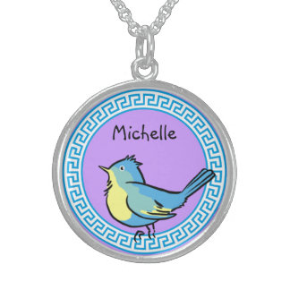 Bluebird in Blue Circle Necklace