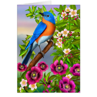 Bluebird in Floral Tree Greeting Card