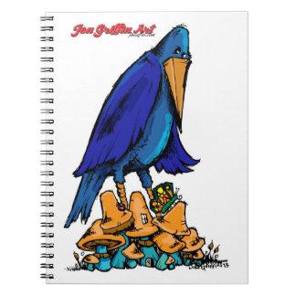 Bluebird in te Mushroom Patch Spiral Note Book