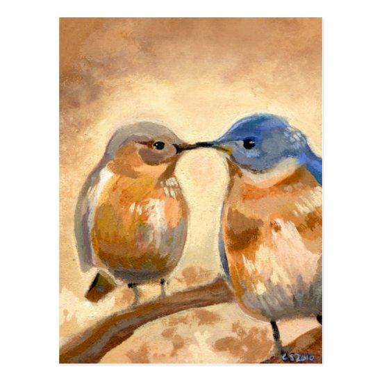 Bluebird Kiss Postcard