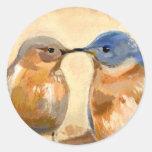 Bluebird Kiss Round Sticker