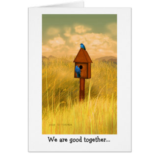 Bluebird lovers at country house painting card