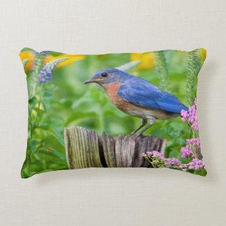Bluebird male on fence post in flower garden accent pillow