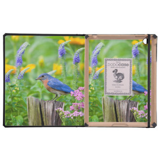 Bluebird male on fence post in flower garden iPad cover