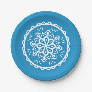 Bluebird Mandala Paper Plate