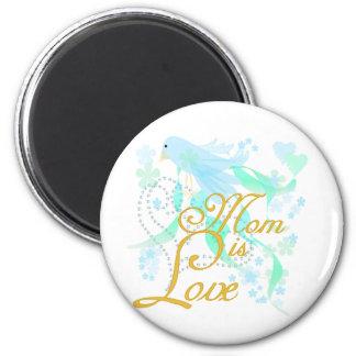 Bluebird Mom is Love 2 Inch Round Magnet