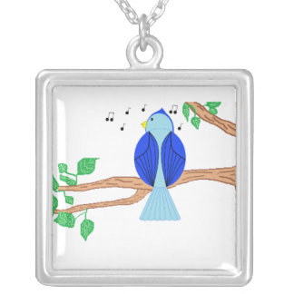 Bluebird Square Pendant Necklace