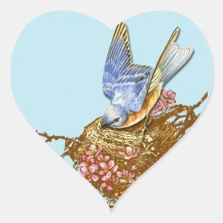 Bluebird & Nest Round Stickers