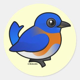 Bluebird occidental del dibujo animado pegatina redonda