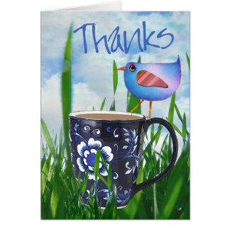 Bluebird of Coffee Happiness Happy Birthday Card