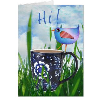 Bluebird of Coffee Happiness Hi Greeting Card