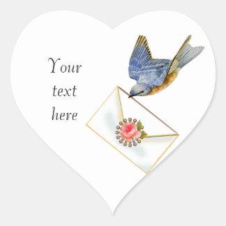 Bluebird of Happiness Heart Sticker