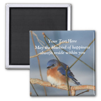 Bluebird Of Happiness Inspirational 2 Inch Square Magnet