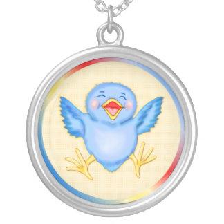 Bluebird of Happiness Round Pendant Necklace