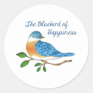 BLUEBIRD OF HAPPINESS ROUND STICKER