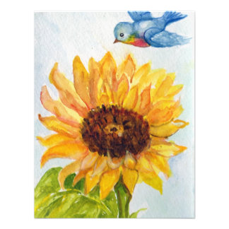 Bluebird of Happiness with Sunflower Personalized Invitation