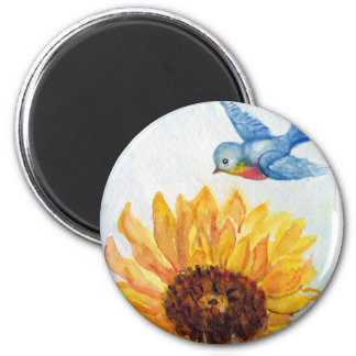Bluebird of Happiness with Sunflower Fridge Magnets