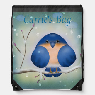 Bluebird of Winter Drawstring Bags