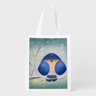 Bluebird of Winter Reusable Grocery Bags