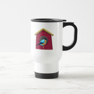 Bluebird on Barn Red House Travel Mug