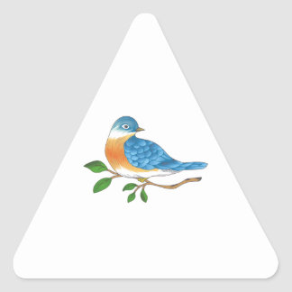 BLUEBIRD ON BRANCH TRIANGLE STICKER