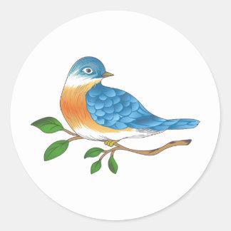 BLUEBIRD ON BRANCH ROUND STICKER