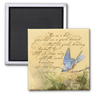 Bluebird on Branch & Victor Hugo Quote 2 Inch Square Magnet