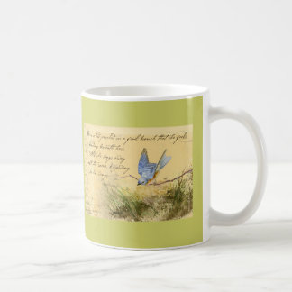 Bluebird on Branch & Victor Hugo Quote Classic White Coffee Mug