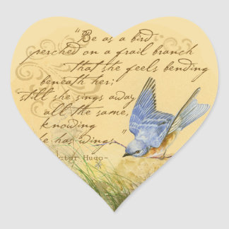 Bluebird on Branch & Victor Hugo Quote Heart Sticker