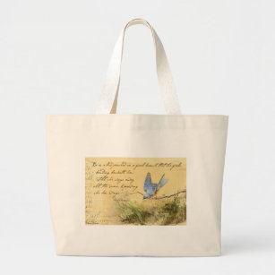 Bluebird on Branch & Victor Hugo Quote Large Tote Bag