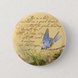 Bluebird on Branch & Victor Hugo Quote Pinback Button