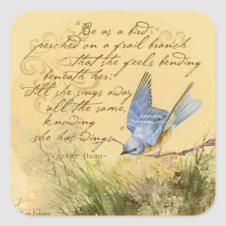 Bluebird on Branch & Victor Hugo Quote Square Sticker