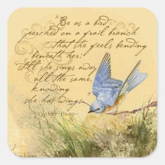 Bluebird on Branch & Victor Hugo Quote Square Sticker