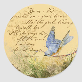 Bluebird on Branch & Victor Hugo Quote Stickers