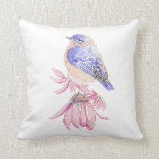 Bluebird original de la acuarela en la flor del Ec Cojin