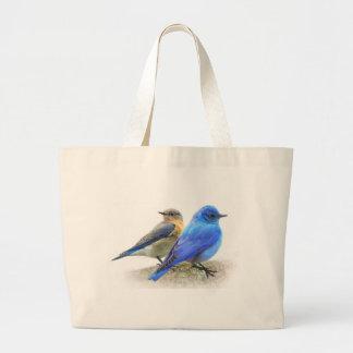 bluebird pair, male and female mountain bluebirds canvas bag