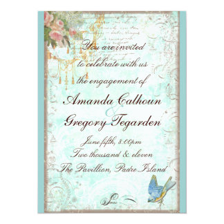 "Bluebird & Pink Roses Engagement Announcement 5.5"" X 7.5"" Invitation Card"