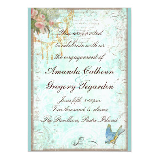 "Bluebird & Pink Roses Engagement Announcement 5"" X 7"" Invitation Card"