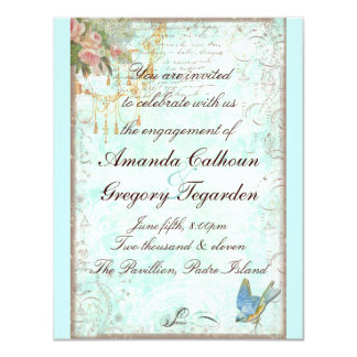 "Bluebird & Pink Roses Engagement Announcement 4.25"" X 5.5"" Invitation Card"