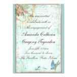 "Bluebird & Pink Roses Engagement Announcement 5.5"" X 7.5"" Invitation Card"