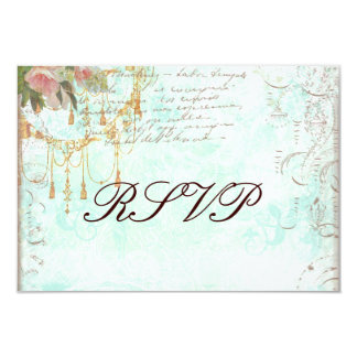 "Bluebird & Pink Roses RSVP Cards 3.5"" X 5"" Invitation Card"